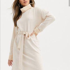 ASOS DESIGN cowl neck belted mini dress in marl